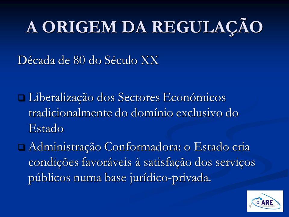 A ORIGEM DA REGULAÇÃO Década de 80 do Século XX Liberalização dos Sectores Económicos tradicionalmente do domínio exclusivo do Estado Liberalização do