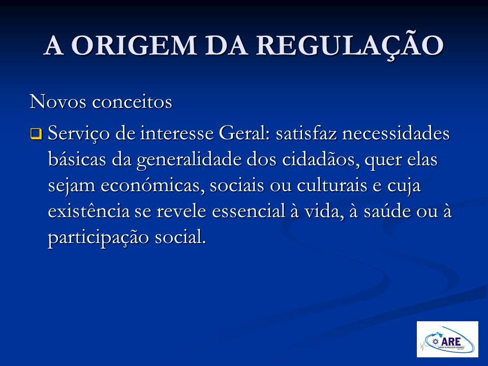 A ORIGEM DA REGULAÇÃO Novos conceitos Serviço de interesse Geral: satisfaz necessidades básicas da generalidade dos cidadãos, quer elas sejam económic