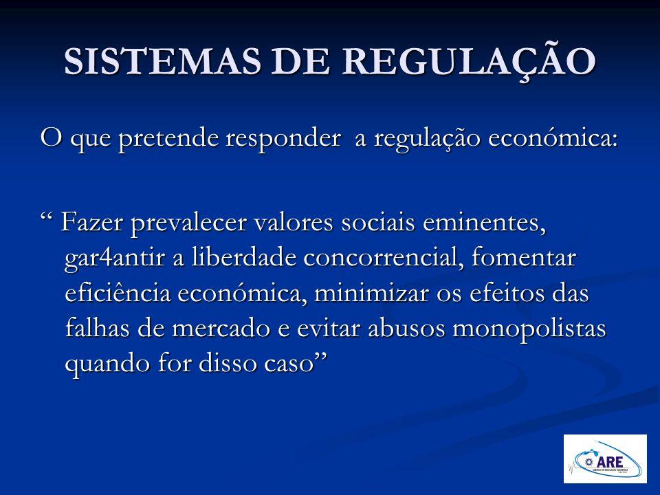 SISTEMAS DE REGULAÇÃO O que pretende responder a regulação económica: Fazer prevalecer valores sociais eminentes, gar4antir a liberdade concorrencial,