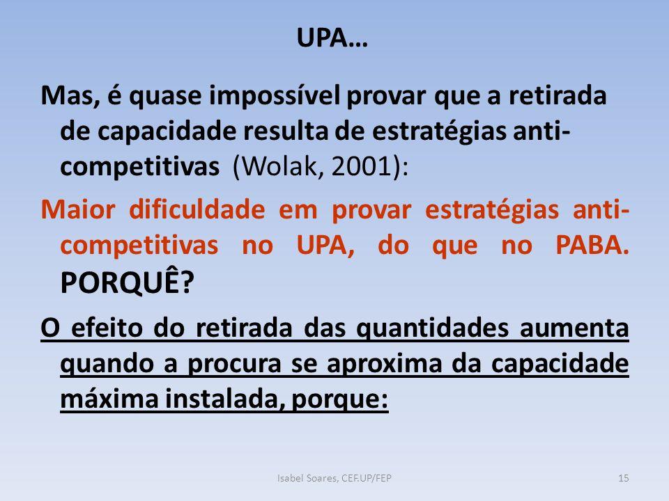 UPA… Mas, é quase impossível provar que a retirada de capacidade resulta de estratégias anti- competitivas (Wolak, 2001): Maior dificuldade em provar estratégias anti- competitivas no UPA, do que no PABA.