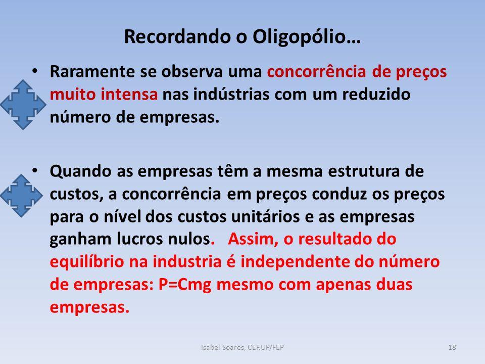 Recordando o Oligopólio… Raramente se observa uma concorrência de preços muito intensa nas indústrias com um reduzido número de empresas.