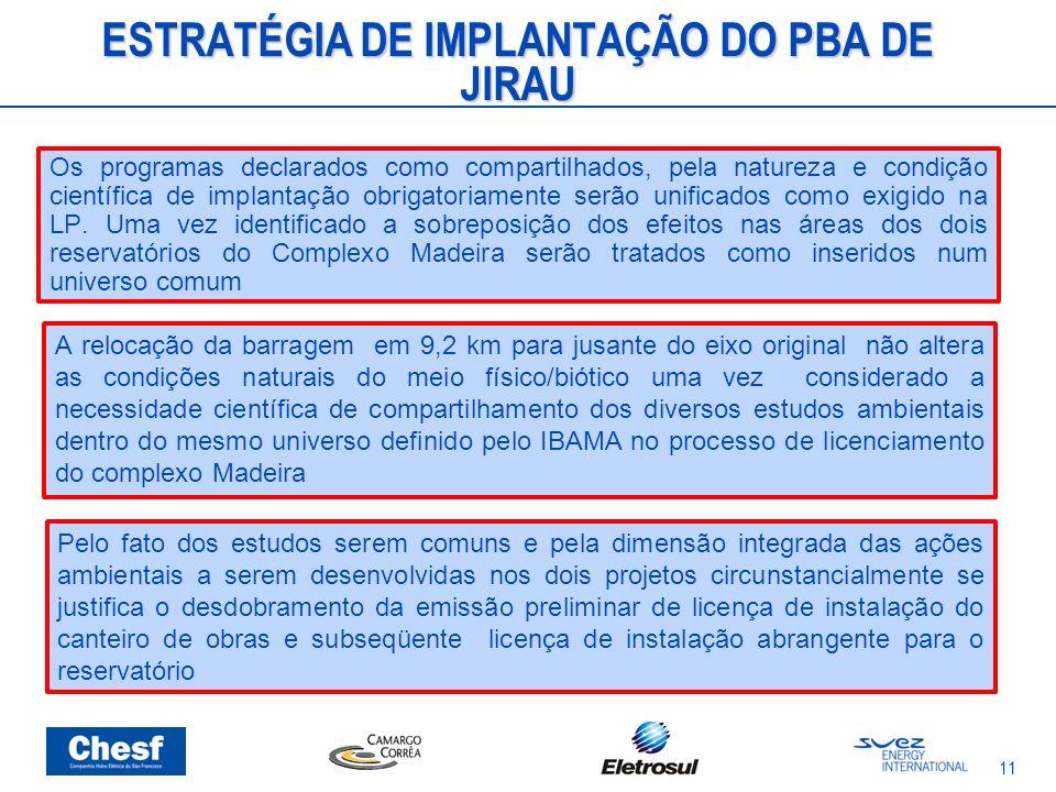 ESTRATÉGIA DE IMPLANTAÇÃO DO PBA DE JIRAU Os programas declarados como compartilhados, pela natureza e condição científica de implantação obrigatoriam