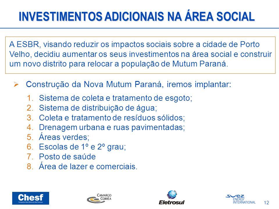 12 A ESBR, visando reduzir os impactos sociais sobre a cidade de Porto Velho, decidiu aumentar os seus investimentos na área social e construir um nov