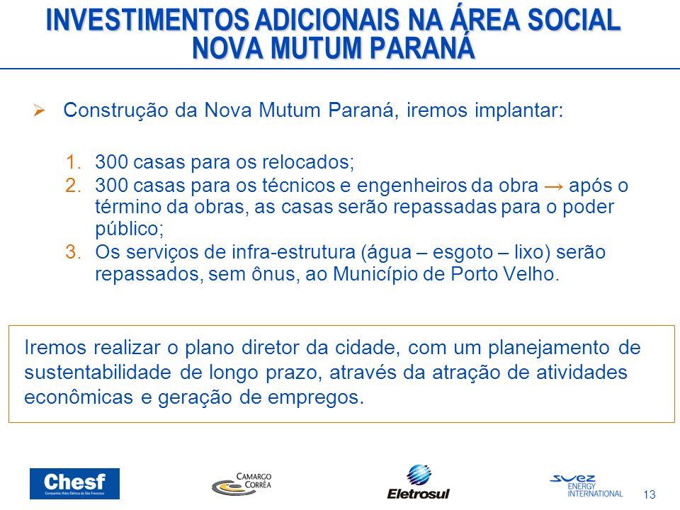 13 INVESTIMENTOS ADICIONAIS NA ÁREA SOCIAL NOVA MUTUM PARANÁ Construção da Nova Mutum Paraná, iremos implantar: 1.300 casas para os relocados; 2.300 c