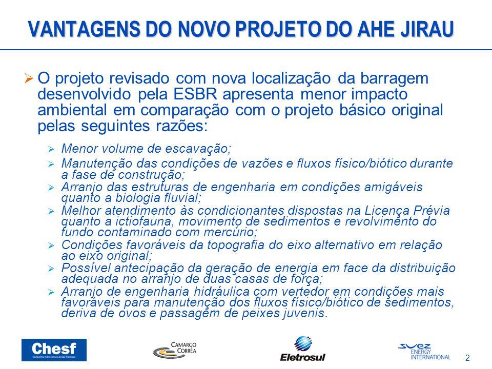 2 VANTAGENS DO NOVO PROJETO DO AHE JIRAU O projeto revisado com nova localização da barragem desenvolvido pela ESBR apresenta menor impacto ambiental