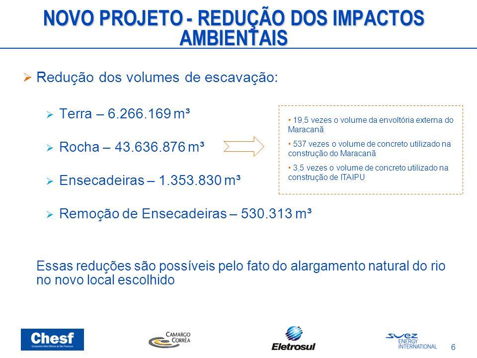 6 NOVO PROJETO - REDUÇÃO DOS IMPACTOS AMBIENTAIS Redução dos volumes de escavação: Terra – 6.266.169 m³ Rocha – 43.636.876 m³ Ensecadeiras – 1.353.830