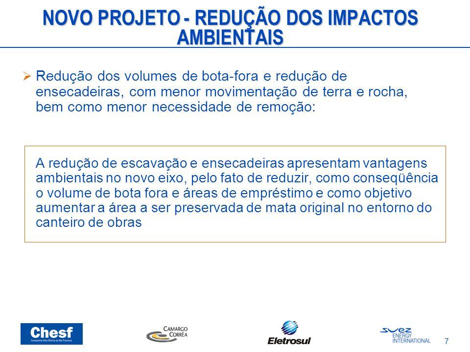 7 NOVO PROJETO - REDUÇÃO DOS IMPACTOS AMBIENTAIS Redução dos volumes de bota-fora e redução de ensecadeiras, com menor movimentação de terra e rocha,