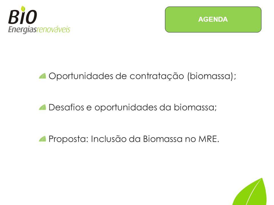 Oportunidades de contratação (biomassa); Desafios e oportunidades da biomassa; Proposta: Inclusão da Biomassa no MRE.