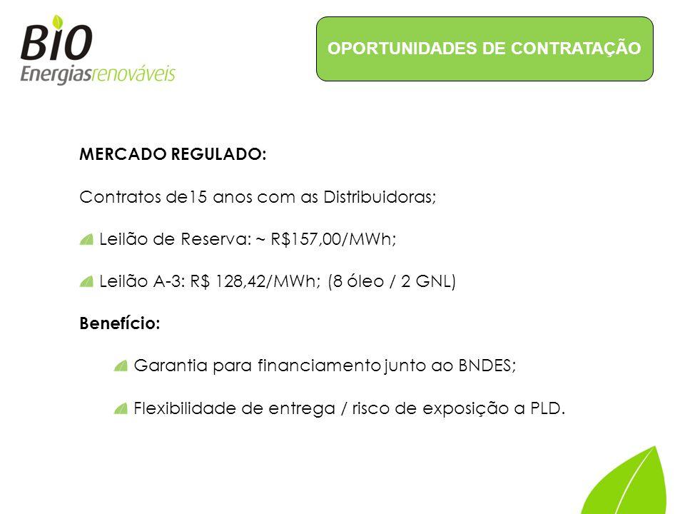 MERCADO REGULADO: Contratos de15 anos com as Distribuidoras; Leilão de Reserva: ~ R$157,00/MWh; Leilão A-3: R$ 128,42/MWh; (8 óleo / 2 GNL) Benefício: Garantia para financiamento junto ao BNDES; Flexibilidade de entrega / risco de exposição a PLD.