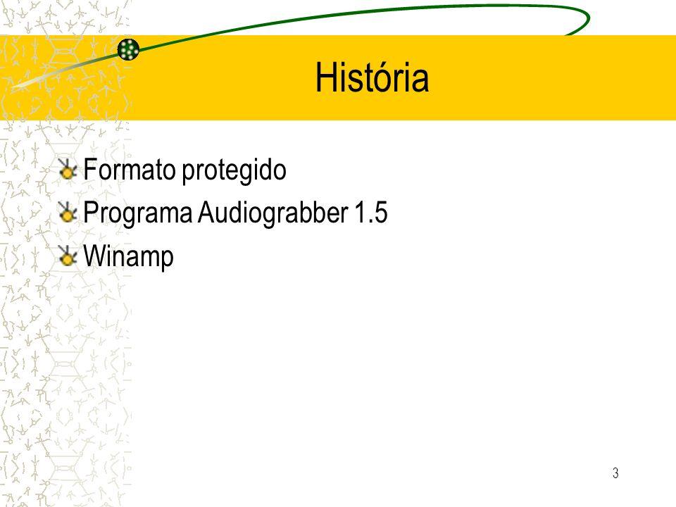 3 História Formato protegido Programa Audiograbber 1.5 Winamp