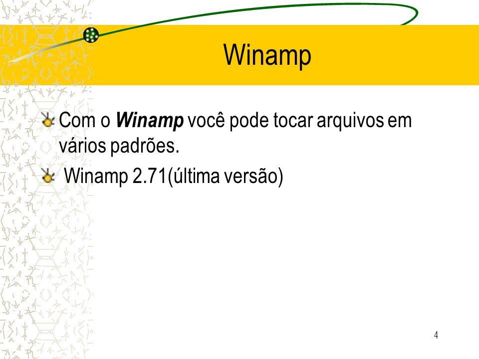 4 Com o Winamp você pode tocar arquivos em vários padrões. Winamp 2.71(última versão)
