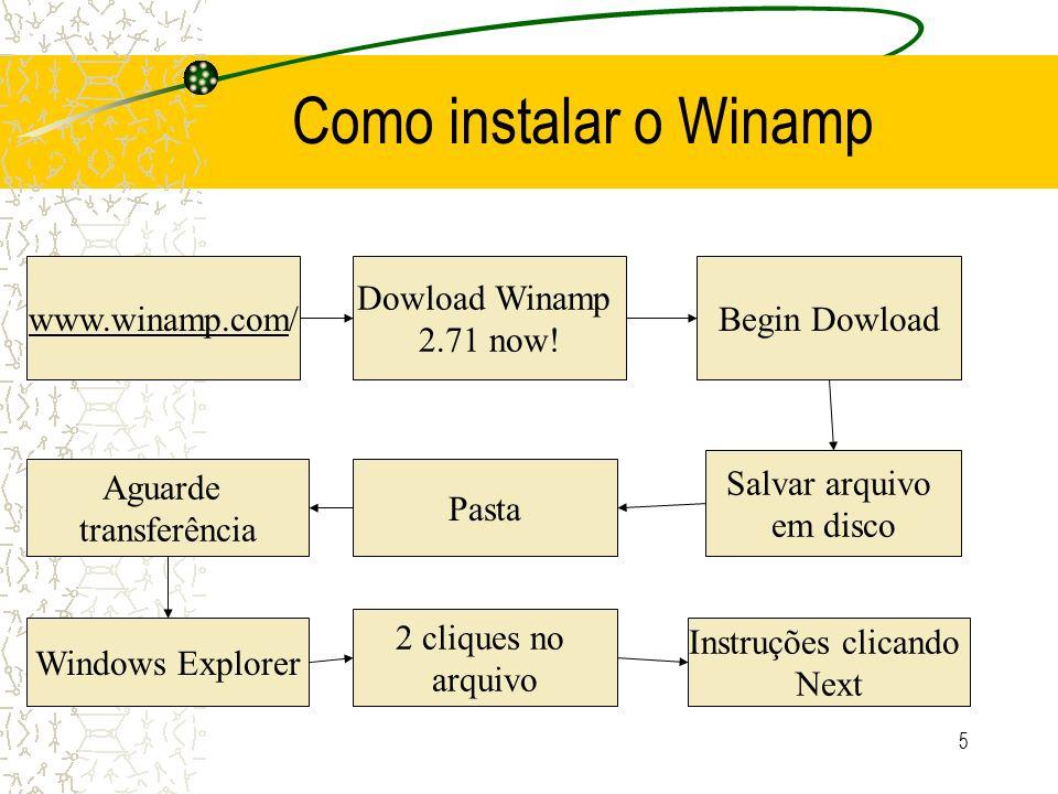 5 Como instalar o Winamp www.winamp.com/ Dowload Winamp 2.71 now! Begin Dowload Salvar arquivo em disco Pasta Aguarde transferência Windows Explorer 2