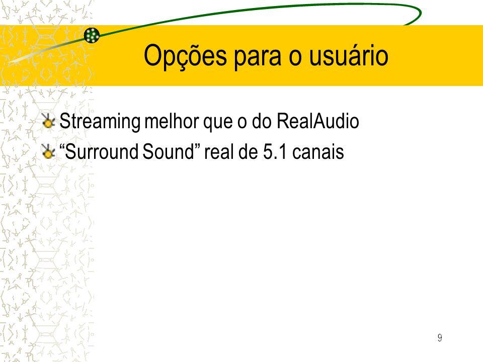 9 Opções para o usuário Streaming melhor que o do RealAudio Surround Sound real de 5.1 canais