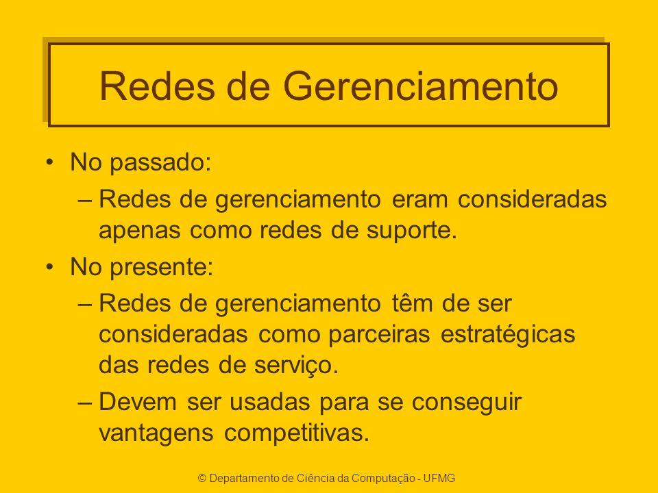 © Departamento de Ciência da Computação - UFMG Redes de Gerenciamento No passado: –Redes de gerenciamento eram consideradas apenas como redes de suporte.