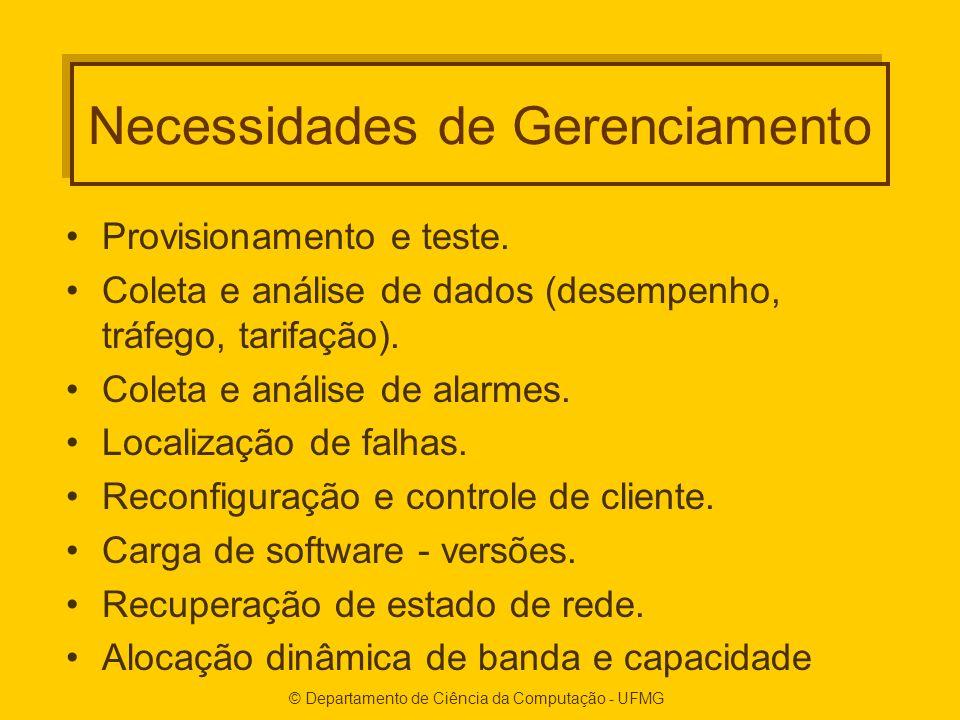 © Departamento de Ciência da Computação - UFMG Necessidades de Gerenciamento Provisionamento e teste.