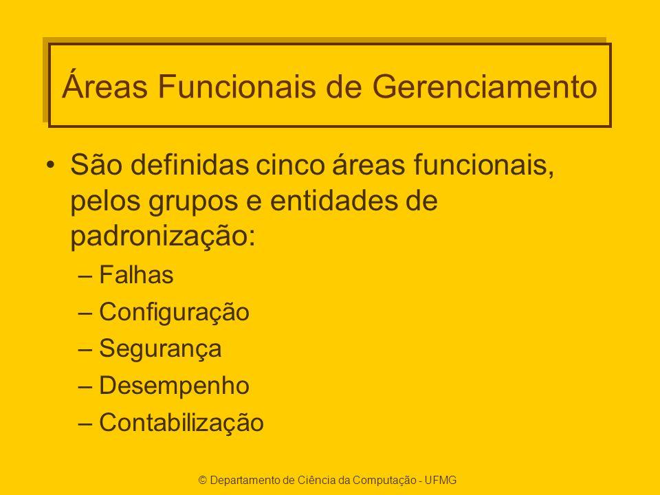 © Departamento de Ciência da Computação - UFMG Áreas Funcionais de Gerenciamento São definidas cinco áreas funcionais, pelos grupos e entidades de padronização: –Falhas –Configuração –Segurança –Desempenho –Contabilização