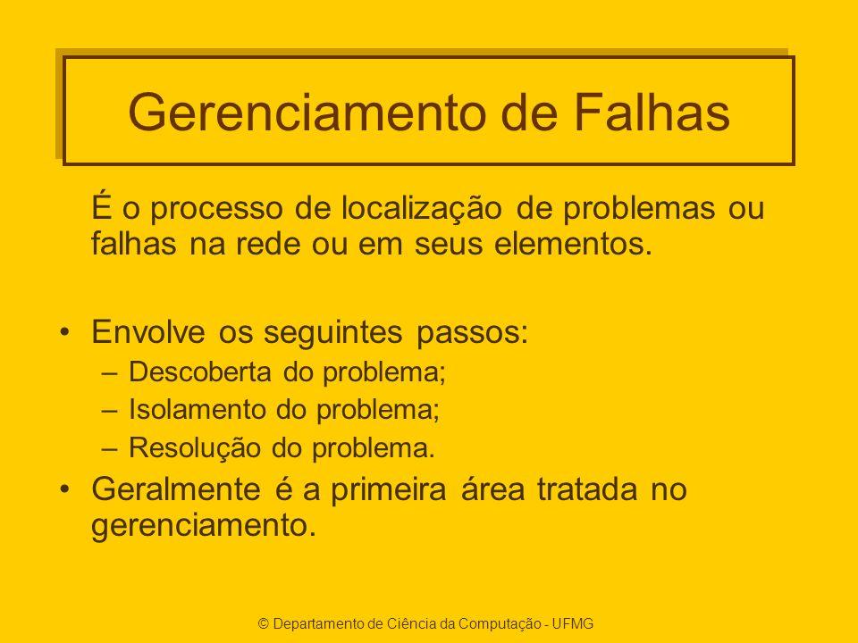 © Departamento de Ciência da Computação - UFMG Gerenciamento de Falhas É o processo de localização de problemas ou falhas na rede ou em seus elementos.