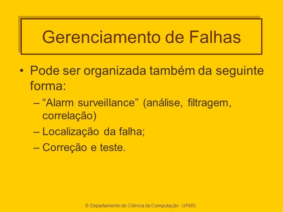 © Departamento de Ciência da Computação - UFMG Gerenciamento de Falhas Pode ser organizada também da seguinte forma: –Alarm surveillance (análise, filtragem, correlação) –Localização da falha; –Correção e teste.