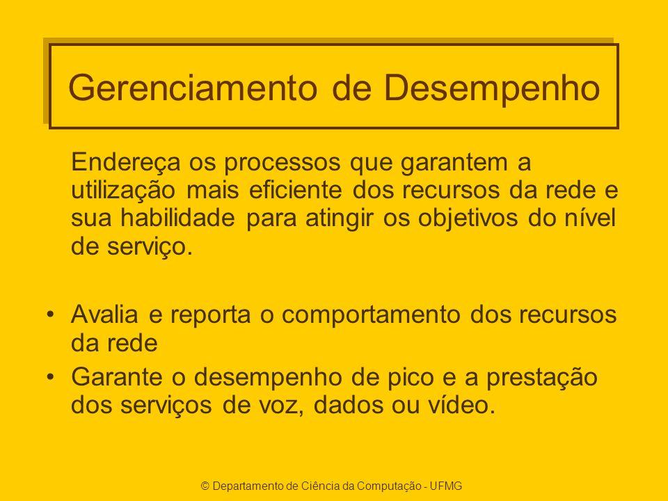 © Departamento de Ciência da Computação - UFMG Gerenciamento de Desempenho Endereça os processos que garantem a utilização mais eficiente dos recursos da rede e sua habilidade para atingir os objetivos do nível de serviço.