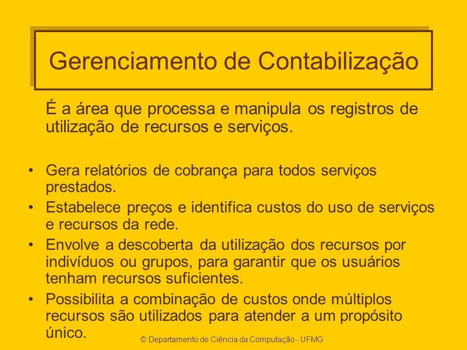 © Departamento de Ciência da Computação - UFMG Gerenciamento de Contabilização É a área que processa e manipula os registros de utilização de recursos e serviços.