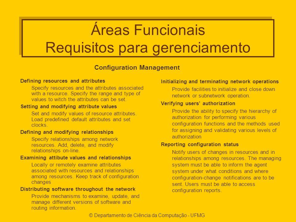 © Departamento de Ciência da Computação - UFMG Áreas Funcionais Requisitos para gerenciamento Defining resources and attributes Specify resources and the attributes associated with a resource.