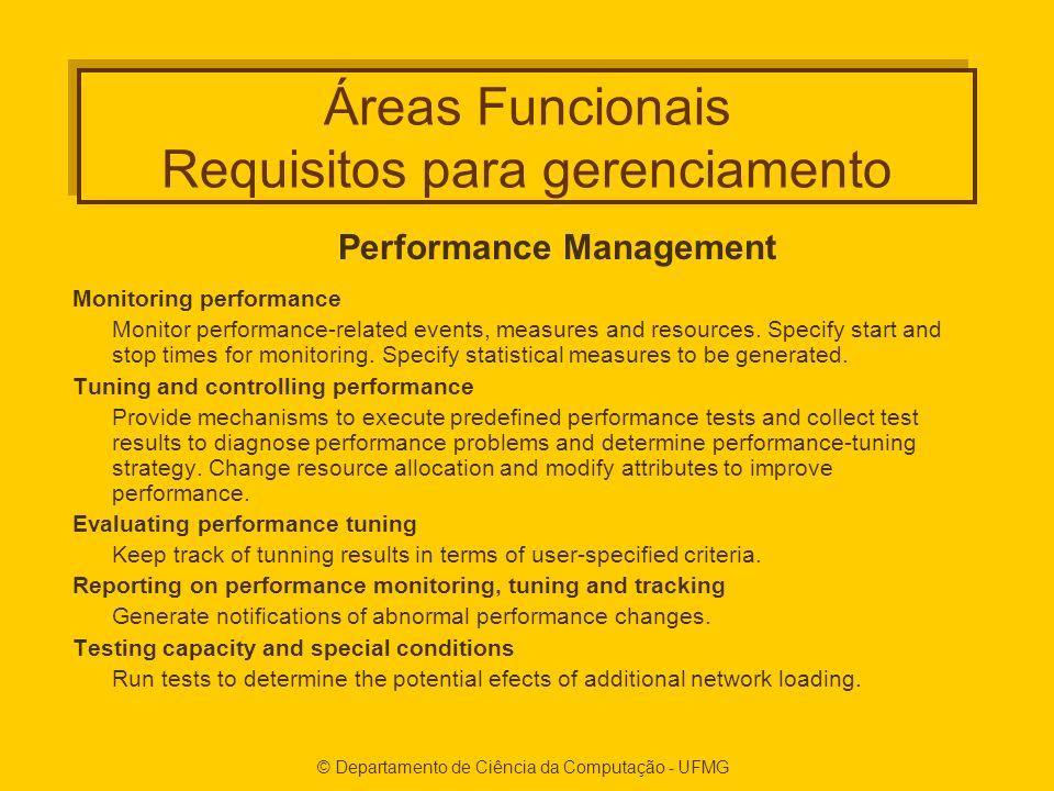 © Departamento de Ciência da Computação - UFMG Áreas Funcionais Requisitos para gerenciamento Performance Management Monitoring performance Monitor performance-related events, measures and resources.
