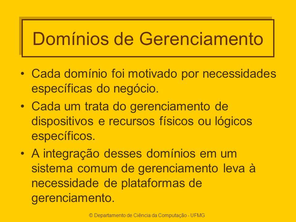 © Departamento de Ciência da Computação - UFMG Domínios de Gerenciamento Cada domínio foi motivado por necessidades específicas do negócio.