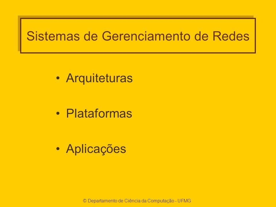 © Departamento de Ciência da Computação - UFMG Sistemas de Gerenciamento de Redes Arquiteturas Plataformas Aplicações