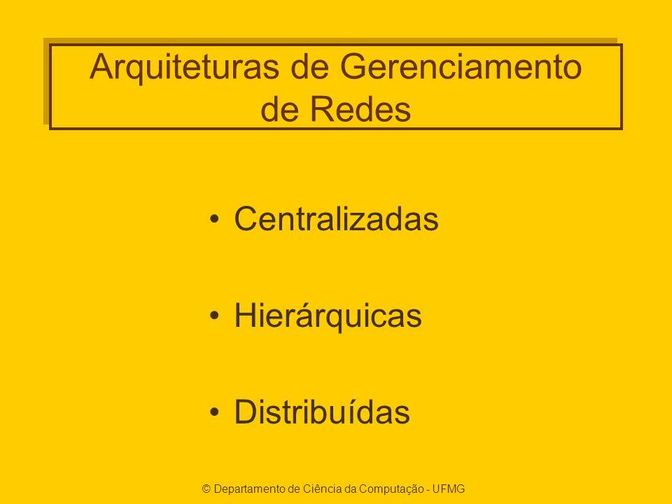 © Departamento de Ciência da Computação - UFMG Arquiteturas de Gerenciamento de Redes Centralizadas Hierárquicas Distribuídas