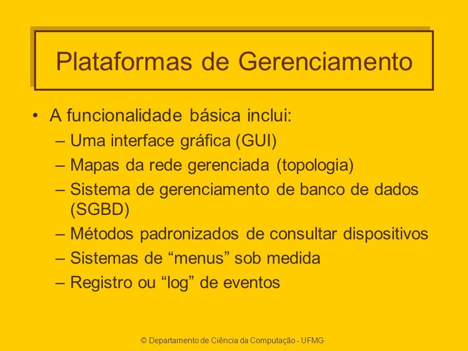 © Departamento de Ciência da Computação - UFMG Plataformas de Gerenciamento A funcionalidade básica inclui: –Uma interface gráfica (GUI) –Mapas da rede gerenciada (topologia) –Sistema de gerenciamento de banco de dados (SGBD) –Métodos padronizados de consultar dispositivos –Sistemas de menus sob medida –Registro ou log de eventos