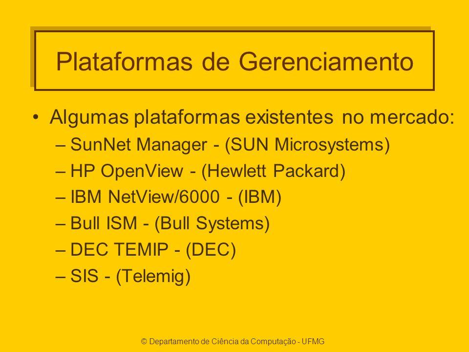 © Departamento de Ciência da Computação - UFMG Plataformas de Gerenciamento Algumas plataformas existentes no mercado: –SunNet Manager - (SUN Microsystems) –HP OpenView - (Hewlett Packard) –IBM NetView/6000 - (IBM) –Bull ISM - (Bull Systems) –DEC TEMIP - (DEC) –SIS - (Telemig)
