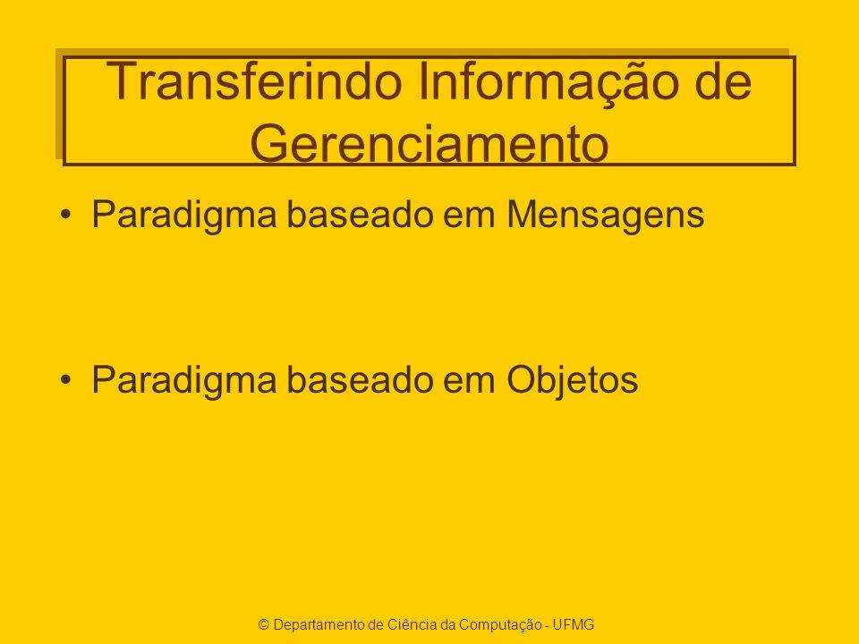 © Departamento de Ciência da Computação - UFMG Transferindo Informação de Gerenciamento Paradigma baseado em Mensagens Paradigma baseado em Objetos