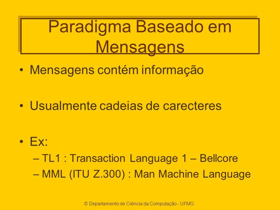 © Departamento de Ciência da Computação - UFMG Paradigma Baseado em Mensagens Mensagens contém informação Usualmente cadeias de carecteres Ex: –TL1 : Transaction Language 1 – Bellcore –MML (ITU Z.300) : Man Machine Language