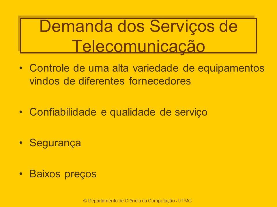 © Departamento de Ciência da Computação - UFMG Demanda dos Serviços de Telecomunicação Controle de uma alta variedade de equipamentos vindos de diferentes fornecedores Confiabilidade e qualidade de serviço Segurança Baixos preços