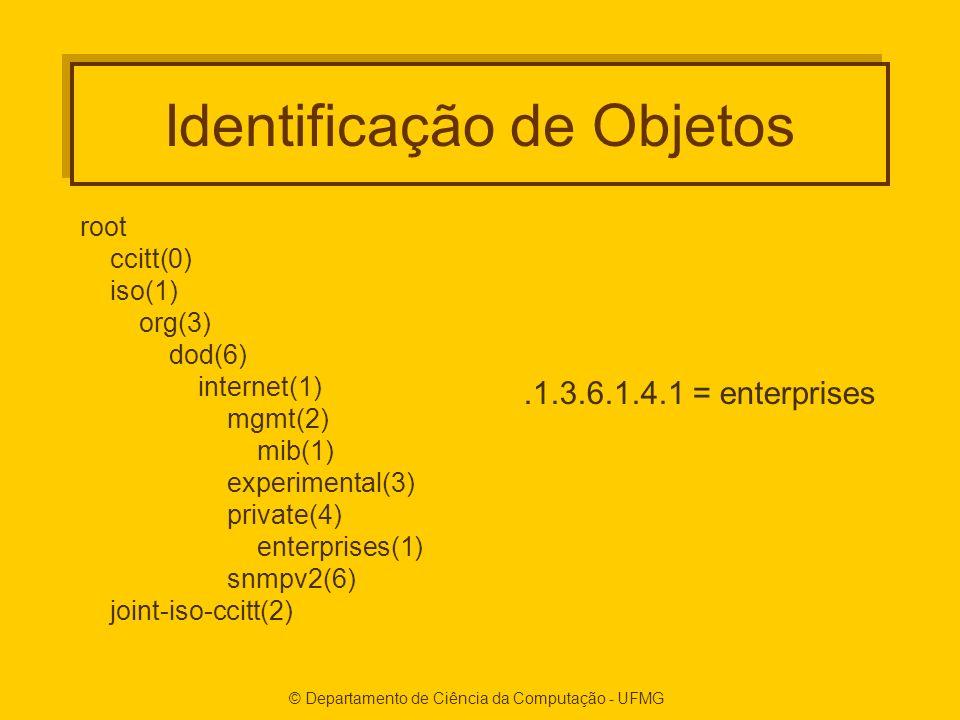 © Departamento de Ciência da Computação - UFMG Identificação de Objetos root ccitt(0) iso(1) org(3) dod(6) internet(1) mgmt(2) mib(1) experimental(3) private(4) enterprises(1) snmpv2(6) joint-iso-ccitt(2).1.3.6.1.4.1 = enterprises