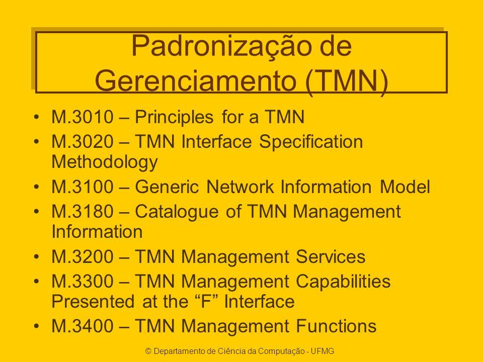© Departamento de Ciência da Computação - UFMG Padronização de Gerenciamento (TMN) M.3010 – Principles for a TMN M.3020 – TMN Interface Specification Methodology M.3100 – Generic Network Information Model M.3180 – Catalogue of TMN Management Information M.3200 – TMN Management Services M.3300 – TMN Management Capabilities Presented at the F Interface M.3400 – TMN Management Functions