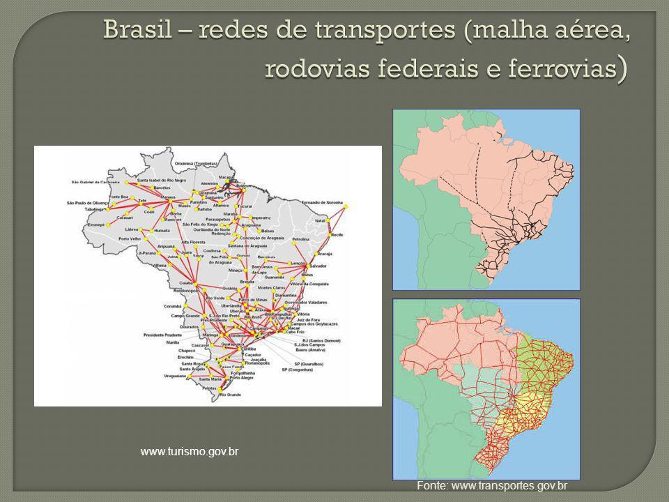 Fonte: www.transportes.gov.br www.turismo.gov.br