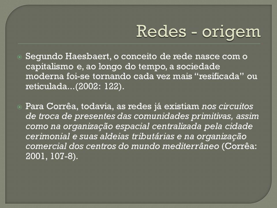 Segundo Haesbaert, o conceito de rede nasce com o capitalismo e, ao longo do tempo, a sociedade moderna foi-se tornando cada vez mais resificada ou re