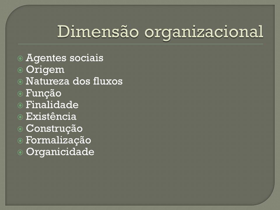 Agentes sociais Origem Natureza dos fluxos Função Finalidade Existência Construção Formalização Organicidade