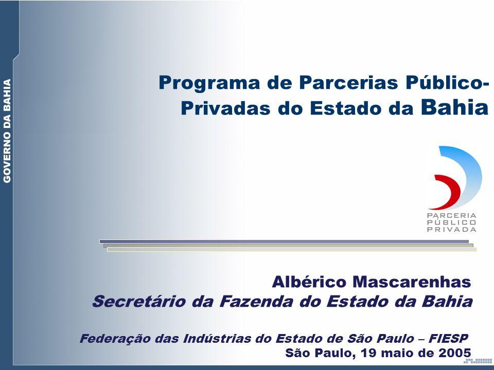 Albérico Mascarenhas Secretário da Fazenda do Estado da Bahia Federação das Indústrias do Estado de São Paulo – FIESP São Paulo, 19 maio de 2005 Progr