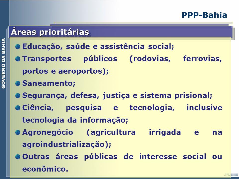 PPP-Bahia Áreas prioritárias Educação, saúde e assistência social; Transportes públicos (rodovias, ferrovias, portos e aeroportos); Saneamento; Segura