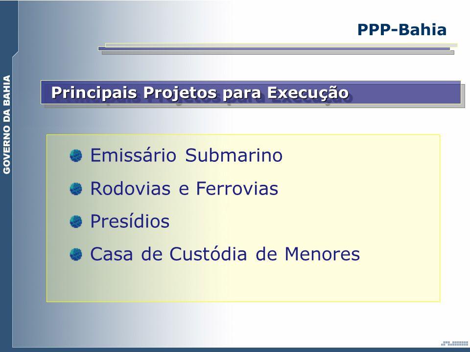 Principais Projetos para Execução Emissário Submarino Rodovias e Ferrovias Presídios Casa de Custódia de Menores PPP-Bahia