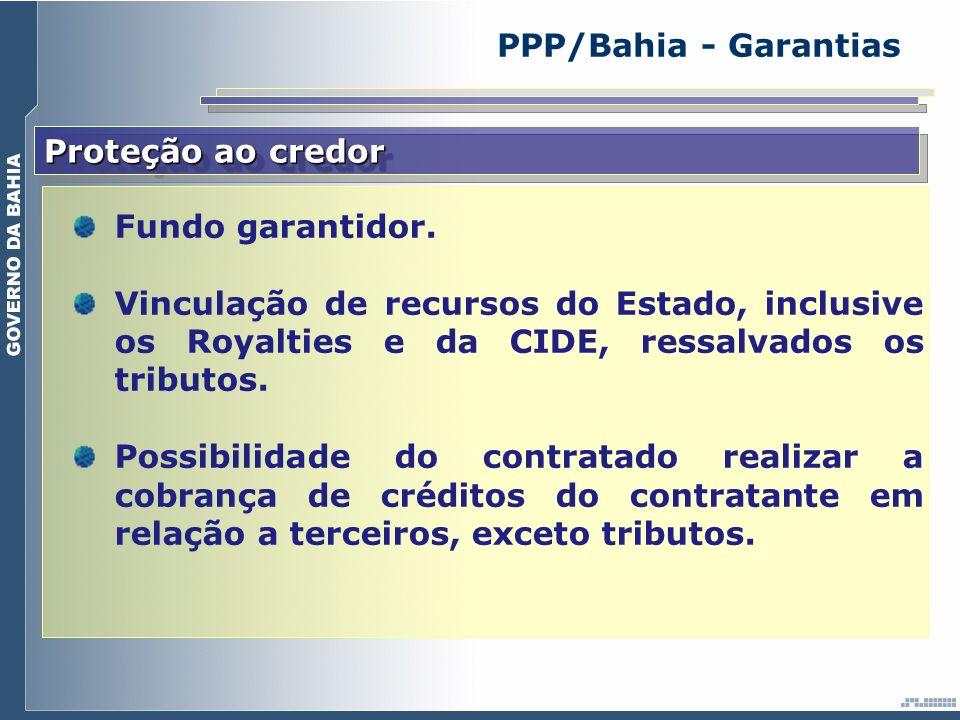 Proteção ao credor Fundo garantidor. Vinculação de recursos do Estado, inclusive os Royalties e da CIDE, ressalvados os tributos. Possibilidade do con