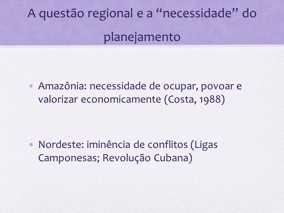 A questão regional e a necessidade do planejamento Amazônia: necessidade de ocupar, povoar e valorizar economicamente (Costa, 1988) Nordeste: iminênci