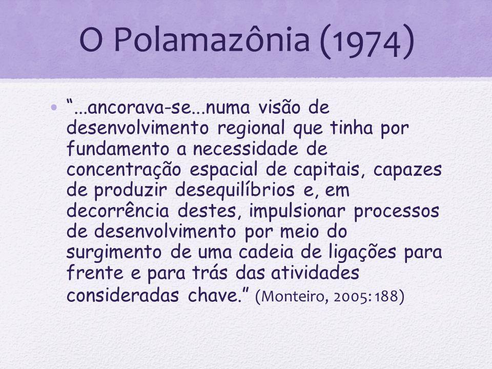 O Polamazônia (1974)...ancorava-se...numa visão de desenvolvimento regional que tinha por fundamento a necessidade de concentração espacial de capitai