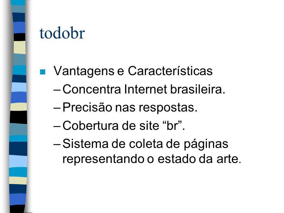 todobr n Vantagens e Características –Concentra Internet brasileira. –Precisão nas respostas. –Cobertura de site br. –Sistema de coleta de páginas rep