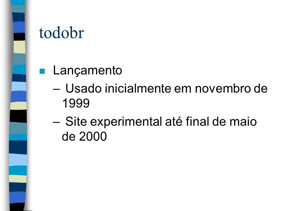 todobr n Lançamento – Usado inicialmente em novembro de 1999 – Site experimental até final de maio de 2000