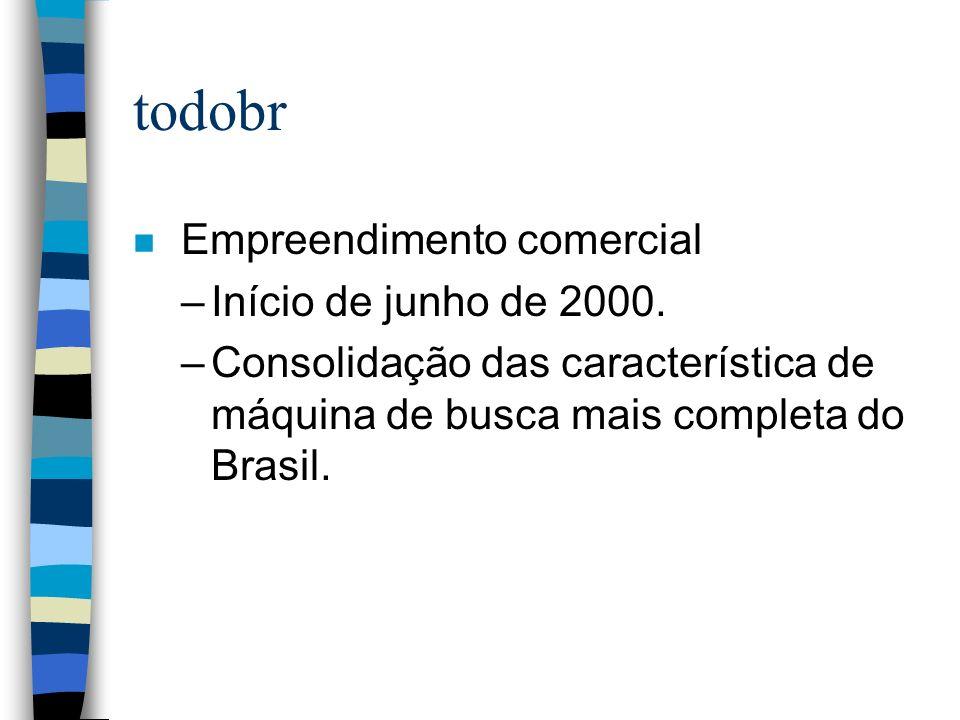 todobr n Empreendimento comercial –Início de junho de 2000. –Consolidação das característica de máquina de busca mais completa do Brasil.