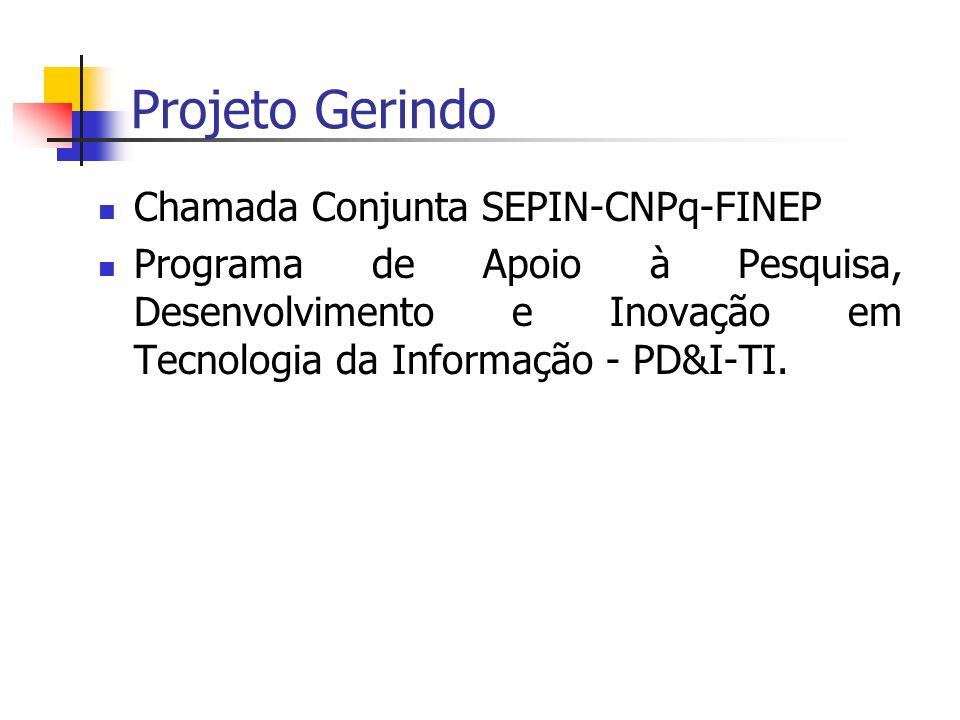 Projeto Gerindo Chamada Conjunta SEPIN-CNPq-FINEP Programa de Apoio à Pesquisa, Desenvolvimento e Inovação em Tecnologia da Informação - PD&I-TI.
