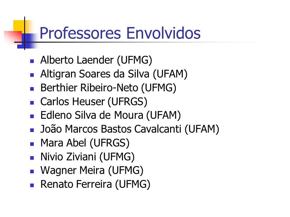 Professores Envolvidos Alberto Laender (UFMG) Altigran Soares da Silva (UFAM) Berthier Ribeiro-Neto (UFMG) Carlos Heuser (UFRGS) Edleno Silva de Moura (UFAM) João Marcos Bastos Cavalcanti (UFAM) Mara Abel (UFRGS) Nivio Ziviani (UFMG) Wagner Meira (UFMG) Renato Ferreira (UFMG)